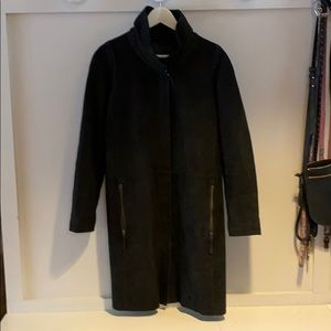 Danier black suede coat with wool lining small